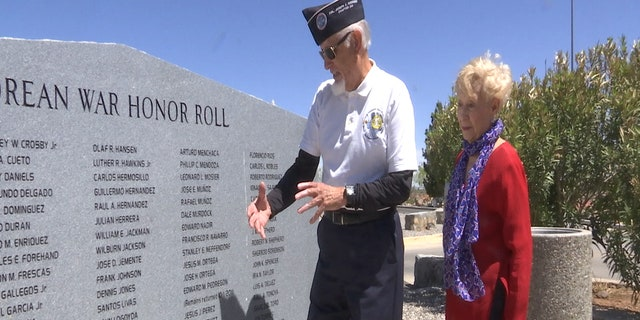 Ben Arriola and his wife visit the Korean War Memorial in El Paso, Texas.