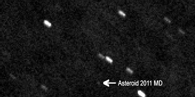 Skywatcher Peter Birtwhistle of the Great Shefford Observatory snapped this image of asteroid 2011 MD on June 23, 2011. The asteroid zipped within 7,500 miles of Earth on June 27.