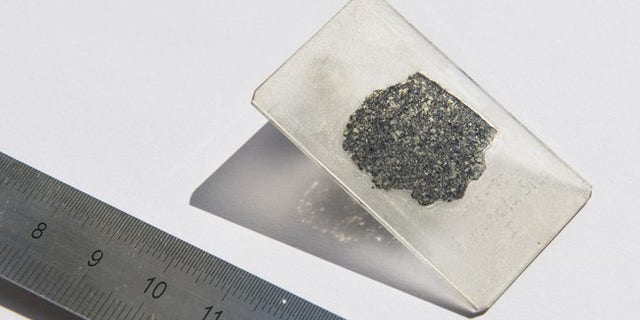 Scientists analyzed a slice of the meteorite fragment (© 2018 EPFL / Hillary Sanctuary)