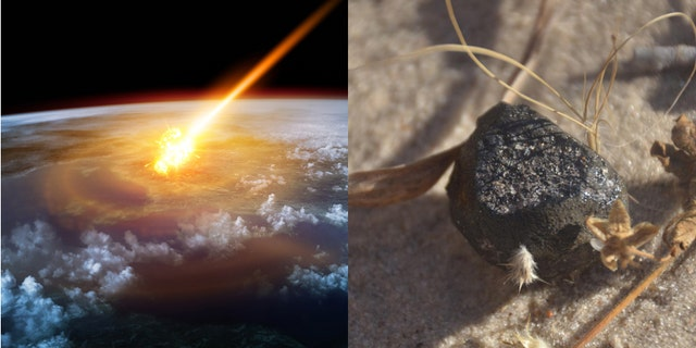 A meteor glowing as it enters the Earth's atmosphere  (James Thew) (iStock)/The meteroite fragment found in Botswana