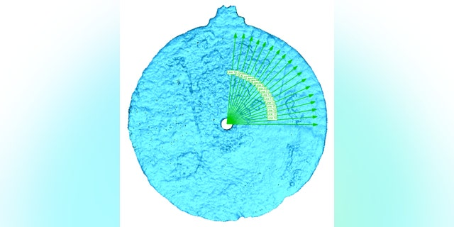 Scan of the astrolabe revealing the etches (University of Warwick).