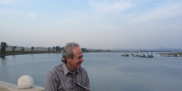 Rick Downes at the Taedong River during his visit to North Korea.