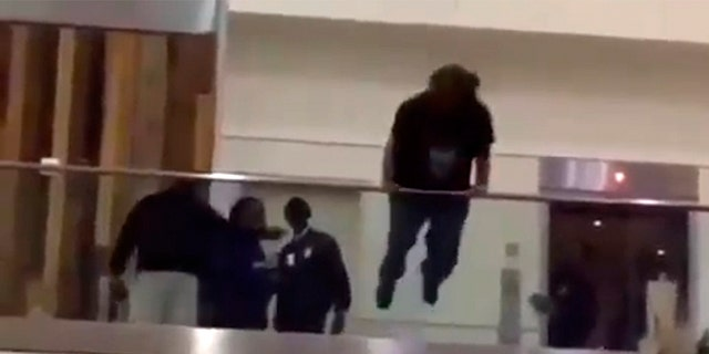 Airport officials had just arrived on the scene when the traveler launched himself over the railing.