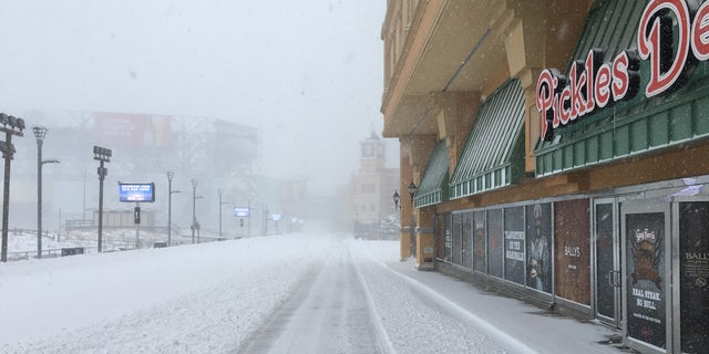 The Boardwalk near Bally's Casino in Atlantic City, New Jersey during a major snowstorm.