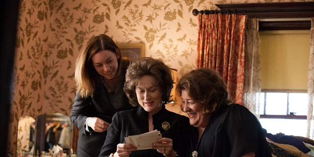 "This publicity image released by The Weinstein Company shows, from left, Julianne Nicholson, Meryl Streep and Margo Martindale in a scene from ""August: Osage County."""