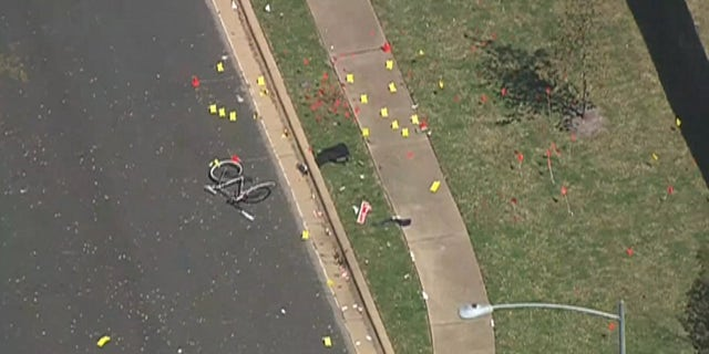 Evidence markers can be seen at the site of Sunday's bombing in Austin, Texas.