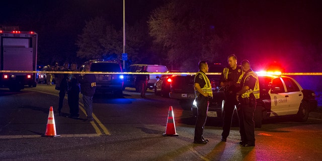 Authorities work at the scene of an explosion in Austin, Texas on March 18.