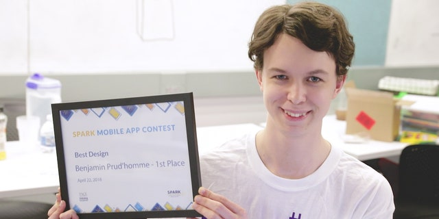 Prud' homme and his fellow interns won a SPARK mobile app contest for EmpQuest, an app that helps people living with ASD navigate the job application process.