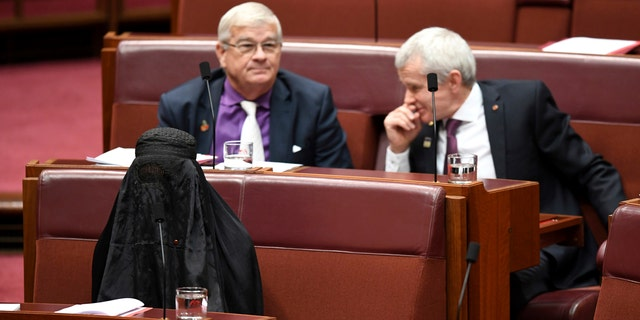 Australian Sen. Pauline Hanson, bottom left, wears a burqa during question time on the Senate floor.