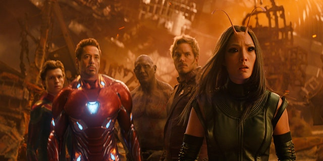 "This image released by Marvel Studios shows, from left, Tom Holland, Robert Downey Jr., Dave Bautista, Chris Pratt and Pom Klementieff in a scene from ""Avengers: Infinity War."""