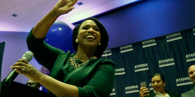 Ayanna Pressley celebrated her victory with supporters Tuesday night.