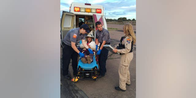 This photo taken, Saturday, April 9, 2016, and provided by Arizona Department of Public Safety shows an ambulance taking Ann Rodgers, 72 , to safety after she was lost in the forest for nine days.