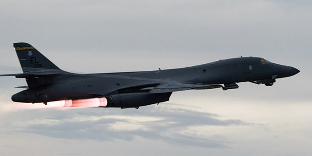 A U.S. Air Force B-1B Lancer takes-off to fly a bilateral mission with Japanese and South Korea Air Force jets.