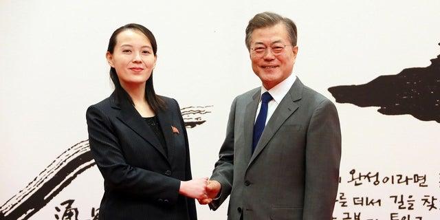 South Korean President Moon Jae-in and Kim's sister Kim Yo Jong met during the Winter Olympics.