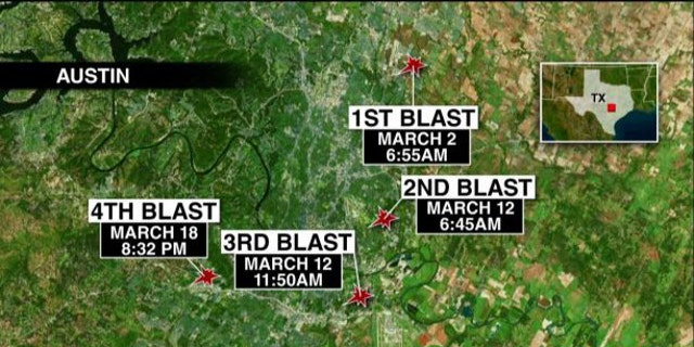 A map shows the location of each of the four bombings in Austin.
