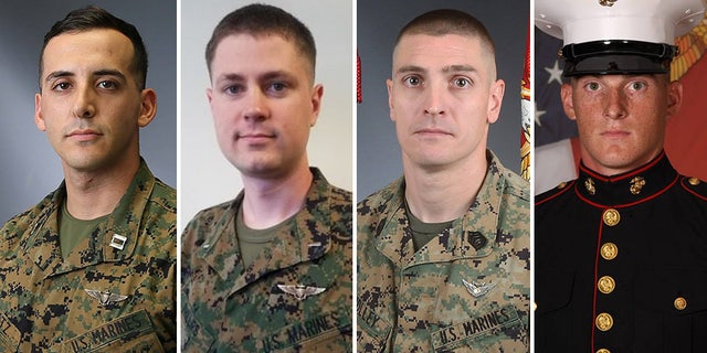 The helicopter crash killed (left to right) Capt. Samuel A. Schultz, 1st Lt. Samuel D. Phillips, Gunnery Sgt. Derik R. Holley and Lance Cpl. Taylor J. Conrad.