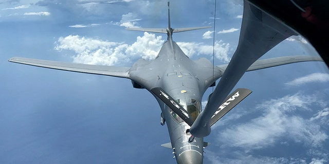 A U.S. Air Force B-1B Lancer assigned to the 37th Expeditionary Bomb Squadron, deployed from Ellsworth Air Force Base, South Dakota, refuels during a 10-hour mission from Andersen Air Force Base, Guam, flying in the vicinity of Kyushu, Japan, the East China Sea, and the Korean peninsula, Aug. 7