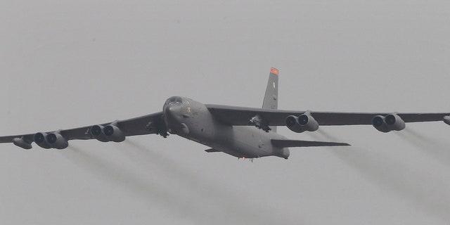 In this Sunday, Jan. 10, 2016, file photo, a U.S. Air Force B-52 bomber flies over Osan Air Base in Pyeongtaek, South Korea.