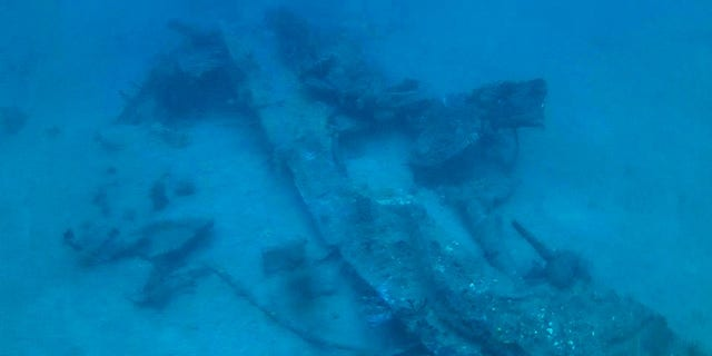 "The remains of the starboard wing and landing gear of the ""Heaven Can Wait"" B-24. The images were capture via a remotely operated vehicle that was used to explore and document the wreck as it was to deep for divers. (Project Recover)"