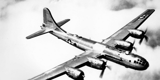 A B-29 Superfortress Bomber in its heyday, which spanned the end of World War II and into the Korean conflict