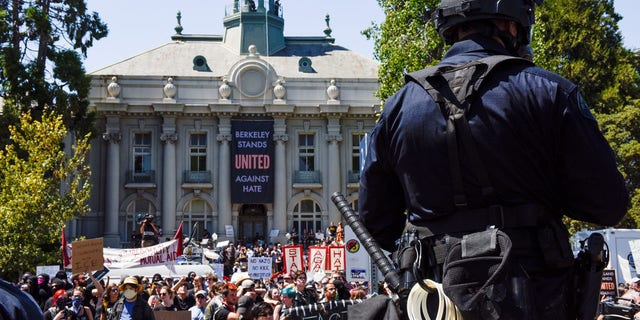 FILE 2017: Counter protesters rally at a cancelled No Marxism in America event in Berkeley.