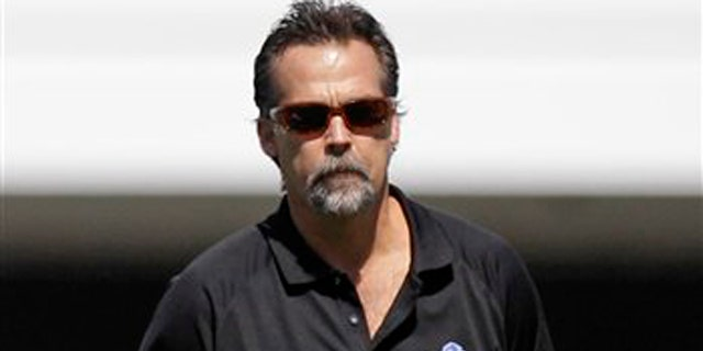 Aug. 10 2011: Former Tennessee Titans head coach Jeff Fisher watches the Detroit Lions practice at NFL football training camp in Allen Park, Mich.