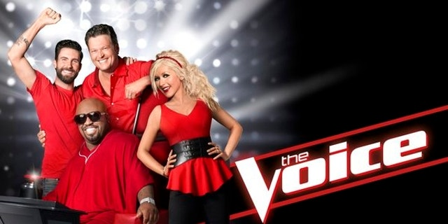 "Adam Levine, CeeLo Green, Blake Shelton and Christina Aguilera pose for a promotional photo for ""The Voice."""