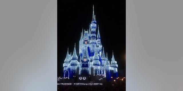 Cinderella's Castle lit up at night.