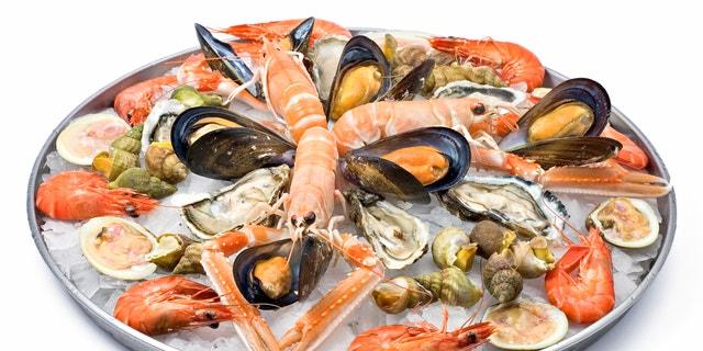Assorted fresh seafood, shell and shellfish
