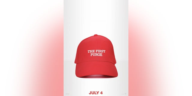 """""""The First Purge"""" movie poster featured a replica to a hat similar to the """"Make America Great Again"""" baseball caps made popular during Donald Trump's presidential campaign."""