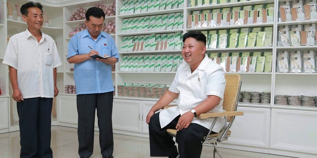 Kim Jong Un visits the Pyongyang Hosiery Factory in 2014.