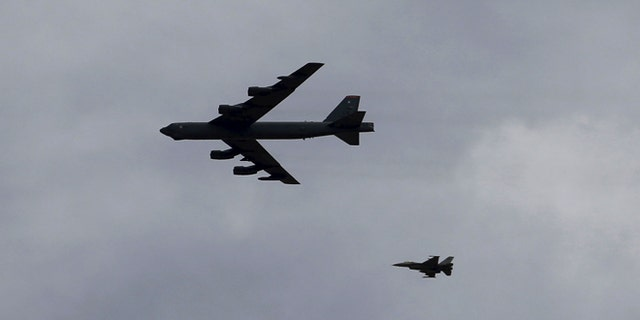 Russian jets on Tuesday intercepted a B-52 bomber, similar to the one above.