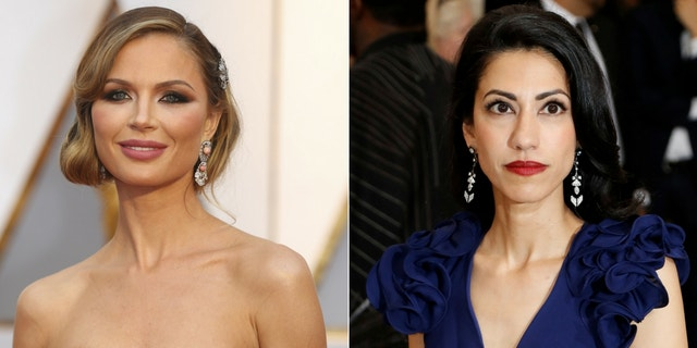 """Huma Abedin (right) said she and Georgina Chapman (left) bonded """"in all kinds of ways"""" after both of their husbands were caught up in sexual misconduct scandals."""