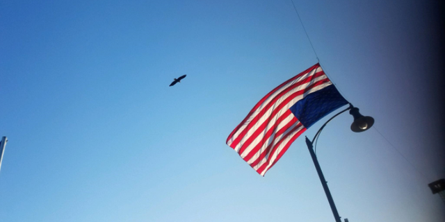 """There's no better symbol to represent America today than a flag but then for an eagle to land on a fire truck holding a flag,"" Andover Fire Chief Jerry Streich said."