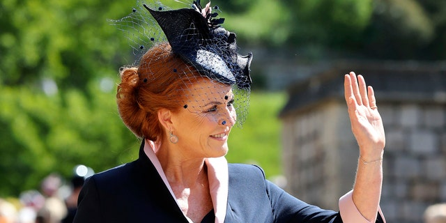 Sarah Ferguson arrives for the wedding ceremony of Prince Harry and Meghan Markle at St. George's Chapel in Windsor Castle in Windsor, near London, England, Saturday, May 19, 2018.