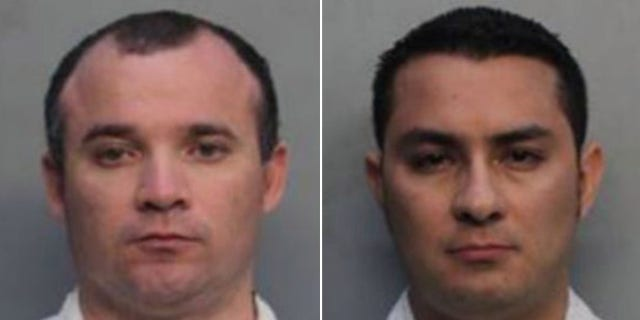 Diego Berrio and Edwin Giraldo Cortez were taken into custody after allegedly being caught performing sex acts in a parked rental car near Miami Beach, reports said.