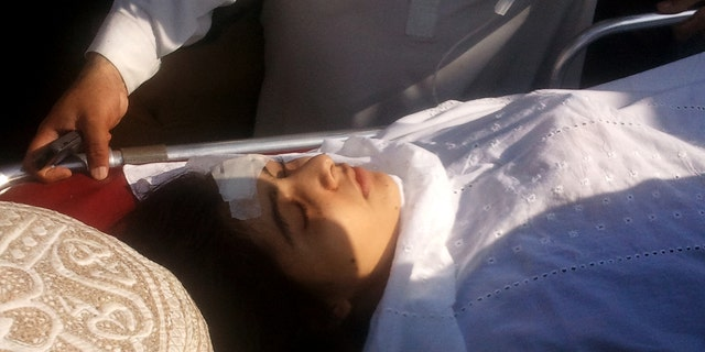 Oct. 9, 2012: A wounded Pakistani girl, Malala Yousufzai, is moved to a helicopter to be taken to Peshawar for treatment in Mingora, Swat Valley, Pakistan.