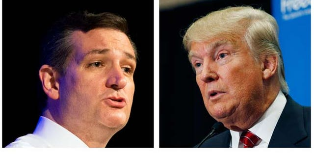 """FILE - This two picture combo of file photos shows Republican presidential candidate, Sen. Ted Cruz, R-Texas, left, and Donald Trump. Two of the most outspoken Republican presidential candidates on illegal immigration, Cruz and Trump, are set to talk. Cruz, who requested the Wednesday meeting, told reporters at the Capitol that Trump """"is bringing a bold, brash voice to this presidential race.""""   (AP Photo/File)"""