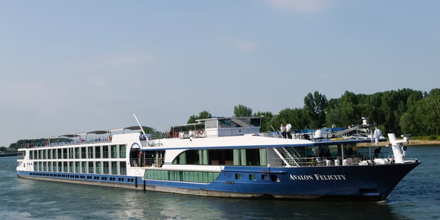 The Avalong Felicity River Cruise ship traveling on the Rhine River near the city of Speyer, Germany.