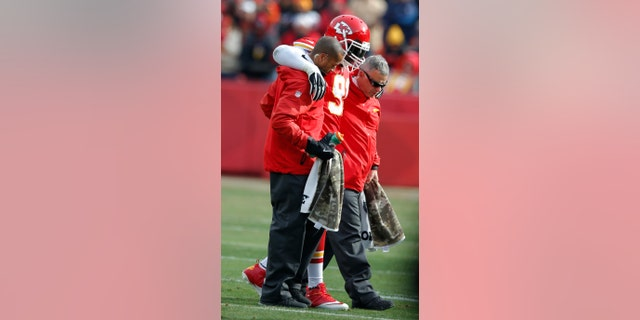 Kansas City Chiefs outside linebacker Tamba Hali (91) is helped from the field during the first half of an NFL football game against the San Diego Chargers in Kansas City, Mo., Sunday, Nov. 24, 2013. (AP Photo/Ed Zurga)