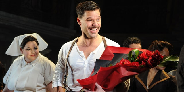 """April 5, 2012: Ricky Martin attends the """"Evita"""" opening night's new star cast at the Marquis Theatre in New York City."""