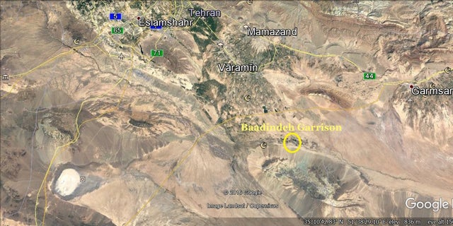 This satellite photo shows the position of the Badindeh Garrison in Iran.