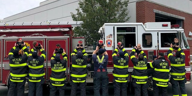 The firemen said their wives coordinated the photos after seeing a similar post from an Oklahoma fire department.
