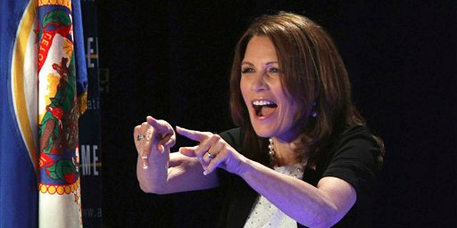 Rep. Michele Bachmann addresses a large crowd at the RightOnline Conference June 18 in Minneapolis.