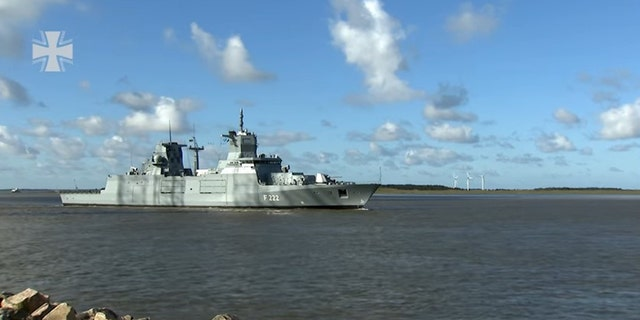The German Navy's new frigate, the Baden-Württemberg (Bundeswehr/YouTube screenshot)
