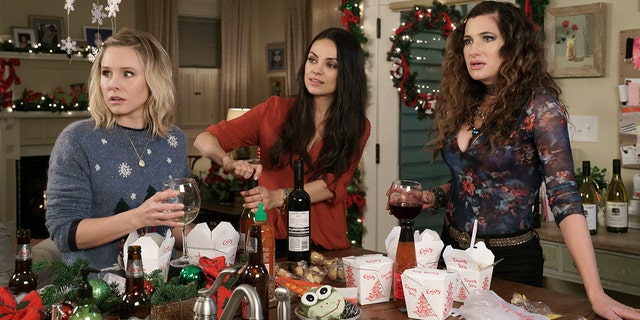 """This image released by STX Entertainment shows Kristen Bell, from left, Mila Kunis, and Kathryn Hahn in the film, """"A Bad Moms Christmas."""" (Hilary Bronwyn Gayle/STX Entertainment via AP)"""