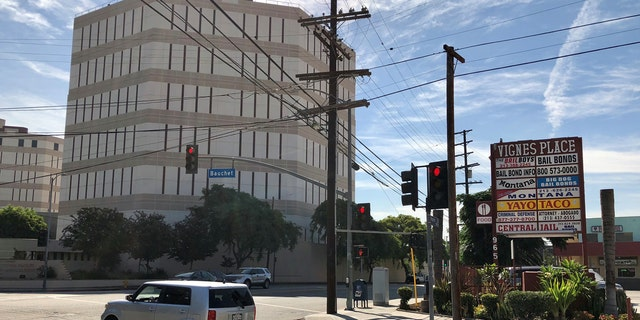 About a dozen or so bail bond businesses sit across the street from the Los Angeles County Men's Central Jail and the Twin Towers Correctional Facility.
