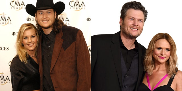 Blake Shelton and Kaynette Gern, left, were married from 2003-2006. Shelton was married to country singer Miranda Lambert, right, from 2011-2015.