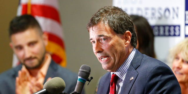 Troy Balderson, Republican candidate for Ohio's 12th Congressional District, speaks to a crowd of supporters during an election night party Tuesday, Aug. 7, 2018, in Newark, Ohio.