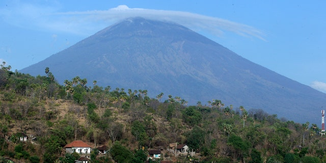 Mount Agung volcano is seen in Amed, Bali on Sept. 26.